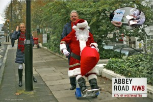 Santa Ambles Along Abbey Road with a Sack Full of Original Copper Heeler insoles